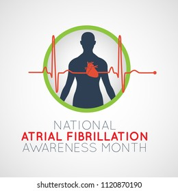 National Atrial Fibrillation Awareness Month vector logo icon illustration