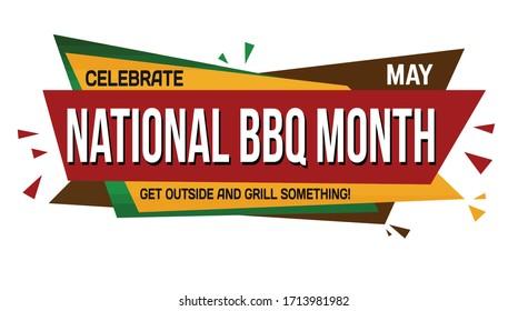 National BBQ month banner design on white background, vector illustration