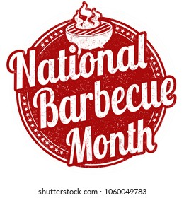 National BBQ month sign or stamp on white background, vector illustration