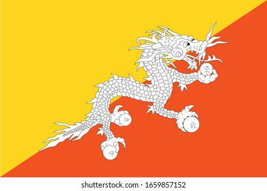 National Bhutan flag, official colors and proportion correctly. National Bhutan flag. Vector illustration. EPS10. Bhutan flag vector icon, simple, flat design for web or mobile app.