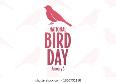National Bird Day. January 5. Holiday concept. Template for background, banner, card, poster with text inscription. Vector EPS10 illustration