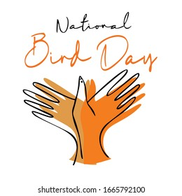 National Bird Day Vector Illustration. two hands are folded in the shape of a bird. Outline