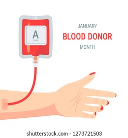 National blood donor month concept. Design with typography and female arm during transfusion , vector