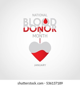 National Blood Donor Month (January). Vector Illustration