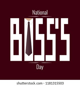 National Boss s Day. Concept of a business holiday. Event name, tie and collar shirt inside the letter o