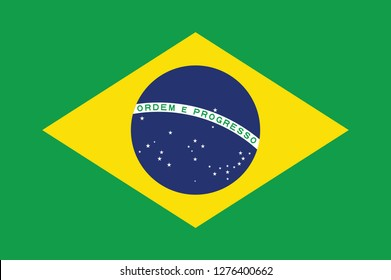 National Brazil flag, official colors and proportion correctly. National Brazil flag. Vector illustration. EPS10. Brasil flag vector icon, simple, flat design for web or mobile app.