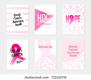National Breast Cancer Awareness set banners. Vector illustration