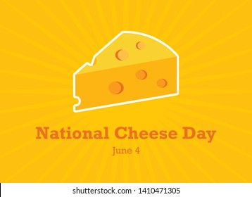 National Cheese Day vector. Cheese cartoon icon on a yellow background. National Cheese Day Poster, June 4. Important day