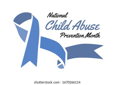 National Child Abuse Prevention Month. Vector illustration with blue ribbon