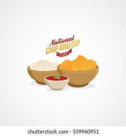 National Chip and Dip Day Vector Illustration. Suitable for Greeting card, poster and banner