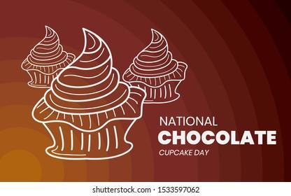 National Chocolate Cupcake Day - Cupcake logo - Outline logo