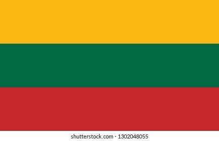National and civil flag of Lithuania. Official colors. Correct proportion. Vector illustration