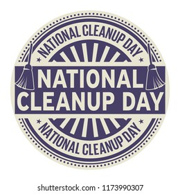 National CleanUp Day, rubber stamp, vector Illustration