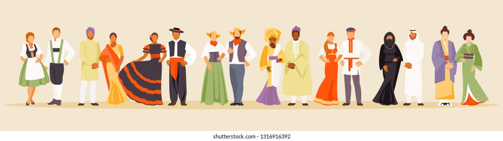 National clothes of Germany, India, Spain, USA, Africa, Russia, Saudi Arabia and Japan Vector illustration