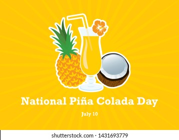 National Piña Colada Day vector. Tropical Pina Colada Cocktail Icon. Drink with pineapple and coconut vector. Fruits fresh cocktail icon. Glass of Piña Colada icon. Summer drink vector