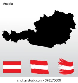 National colors and flag of Austria. Vector illustration.