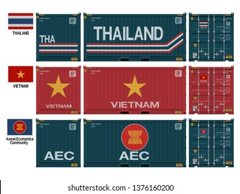 National container(Thailand,Vietnam,AEC) on transparent background