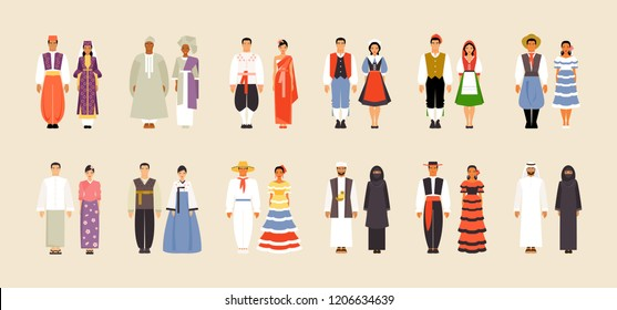 National costumes of Turkey, South Africa, Thailand, France, Italy, Argentina, Myanmar, Korea Colombia Yemen Spain and Saudi Arabia