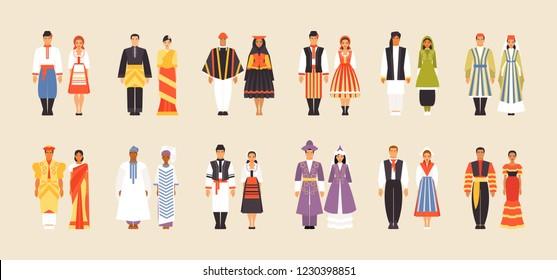 National costumes of Ukraine, Malaysia, Peru, Poland, Afghanistan, Uzbekistan, Sri Lanka, Senegal Romania Kazakhstan Netherlands and Cuba