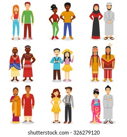National couples icons set with European Asian and African people flat isolated vector illustration