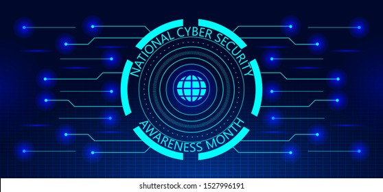 National Cyber Security Awareness Month (NCSAM) is observed in October in USA. Hud elements, globale icon, concept vector are shown on ultaviolet background for banner, website.