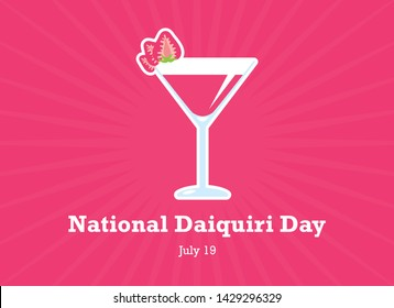 National Daiquiri Day vector. Daiquiri drink with strawberries vector. Strawberry Daiquiri vector. Pink strawberry drink. National Daiquiri Day Poster, July 19