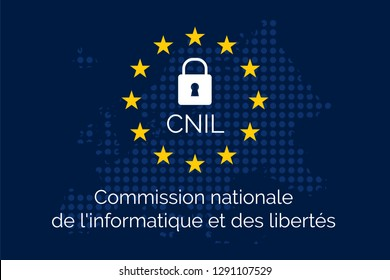 National data protection authority in France: Commission nationale de l'informatique et des libertes. Concept on blue european map from dots