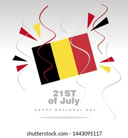National Day Belgium flag with confetti 21st of July isolated on white background