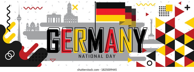 National day of Germany or Deutschland banner with retro abstract geometric shapes & berlin landscape landmarks. German flag and red yellow black colors scheme. German Unity Day. Vector Illustration