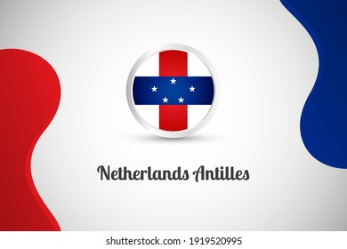 National day of Netherlands Antilles country with country flag geometric greeting background