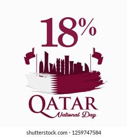 National Day of Qatar. 18 December. 18%. Vector Logo Illustration.