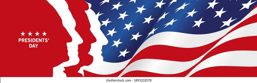 National Day silhouettes USA wavy flag ribbon template red white blue background banner