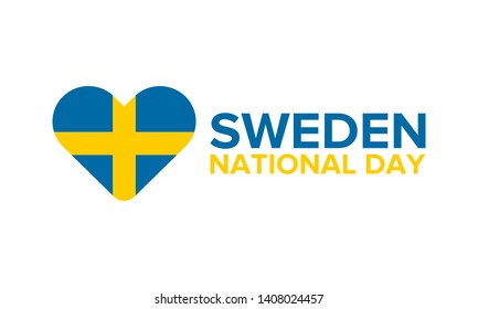 National Day of Sweden. Celebrated annually on June 6 in Sweden. Happy national holiday. Sweden flag. Swedish concept. Poster, card, banner and background