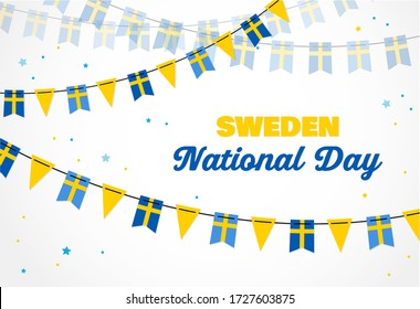 National Day of Sweden, independence day. Vector banner background with bunting of Swedish flags. Background for greeting Card, Poster, Web Banner Design