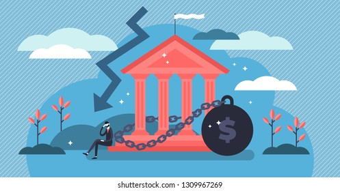 National debt vector illustration. Tiny government credit persons concept. Global and domestic money loss problem. Bad economy and finance deficit risk symbol. Country loan crisis and bankruptcy risk.