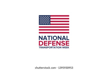 National Defense Transportation Week in May. Celebrated annual in United States. United States Federal Observance Day. National Defense concept. Poster, card, banner and background. Vector