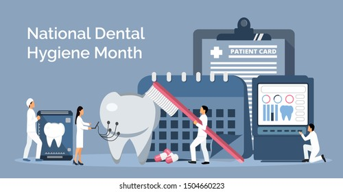National Dental Hygiene Month celebrated in October. Tiny dentists make x-ray scan of teeth to help toothache, to whiten enamel or recovery implant. Dentist service vector concept for landing page.