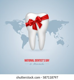National Dentist's Day background. Realistic 3D tooth with red bow and world map. Vector illustration.