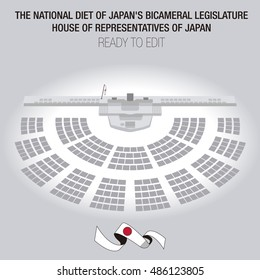 The National Diet of Japan's bicameral legislature. Lower house called the House of Representatives. Editable Seats. Perspective.