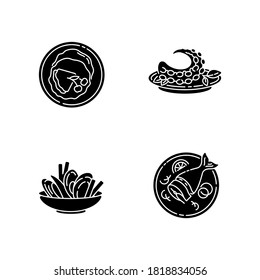 National dish black glyph icons set on white space. French crepes. Thin pancakes. Mussels and chips. Octopus dish. Moules frites. Portuguese polvo. Silhouette symbols. Vector isolated illustration