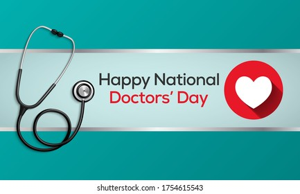 National Doctors' Day is a day celebrated to recognize the contributions of physicians to individual lives and communities. The date may vary from nation to nation, Vector illustration.