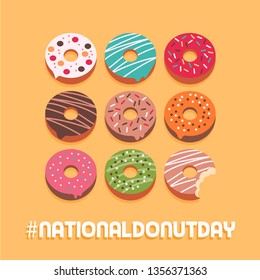 National donut day social media post and advertisement card with assorted delicious donuts