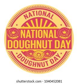 National Doughnut Day, rubber stamp, vector Illustration