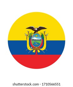 National Ecuador flag, official colors and proportion correctly. National Ecuador flag. Vector illustration. EPS10. Ecuador flag vector icon, simple, flat design for web or mobile app.