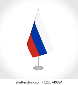 National fabric vector flag of Russia isolated on white background.