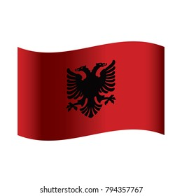 National flag of Albania: black double-headed eagle on red background.