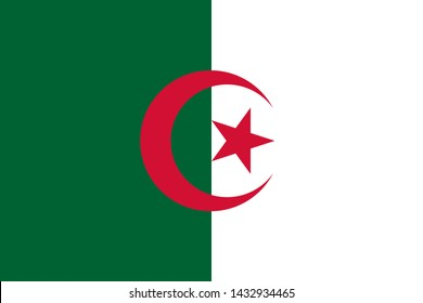 national flag of Algeria in the original colours and proportions