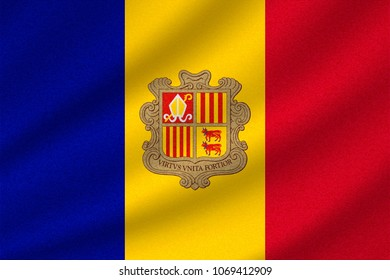 national flag of Andorra on wavy cotton fabric. Realistic vector illustration.