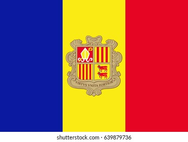 National flag of Andorra. Vector illustration