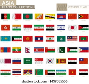 National flag of Asian countries with waving effect, official proportion. Big collection of vector flag.